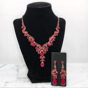 Red Crystal Necklace Set Bridal Pageant Prom Event